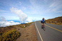 a cyclist approaches the summit of Haleakala....