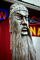 Wood carving outside of Chinese restaurant in Whittier...