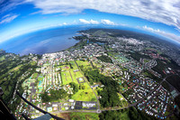 Fisheye view of Hilo from helicopter